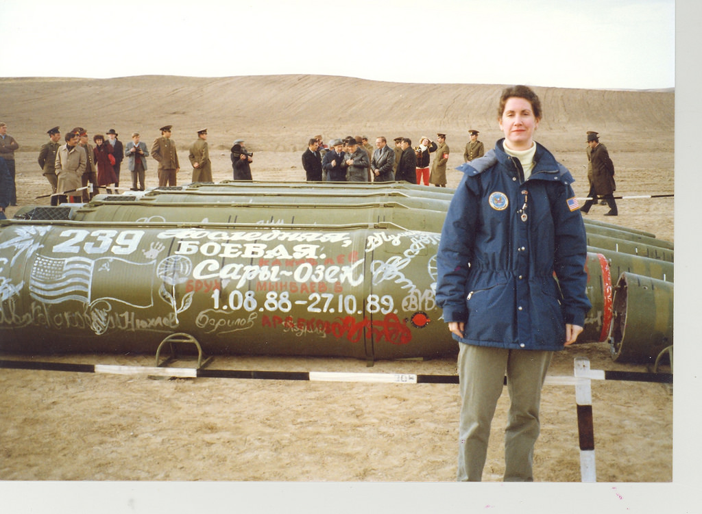 Eileen Malloy, chief of the arms control unit at the U.S. Embassy in Moscow, standing in Sary-Ozek, Kazakhstan, where the last Soviet short-range missiles were eliminated under the INF Treaty in spring 1990.