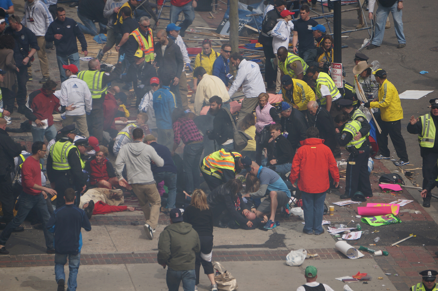 Aftermath of the Boston Marathon bombing, April 15, 2013.