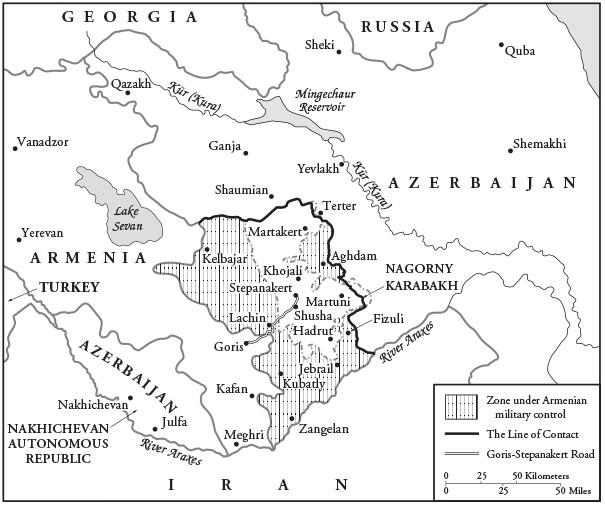 A map of Nagorny Karabakh, between Armenia and Azerbaijan, showing zones of Armenian military control.