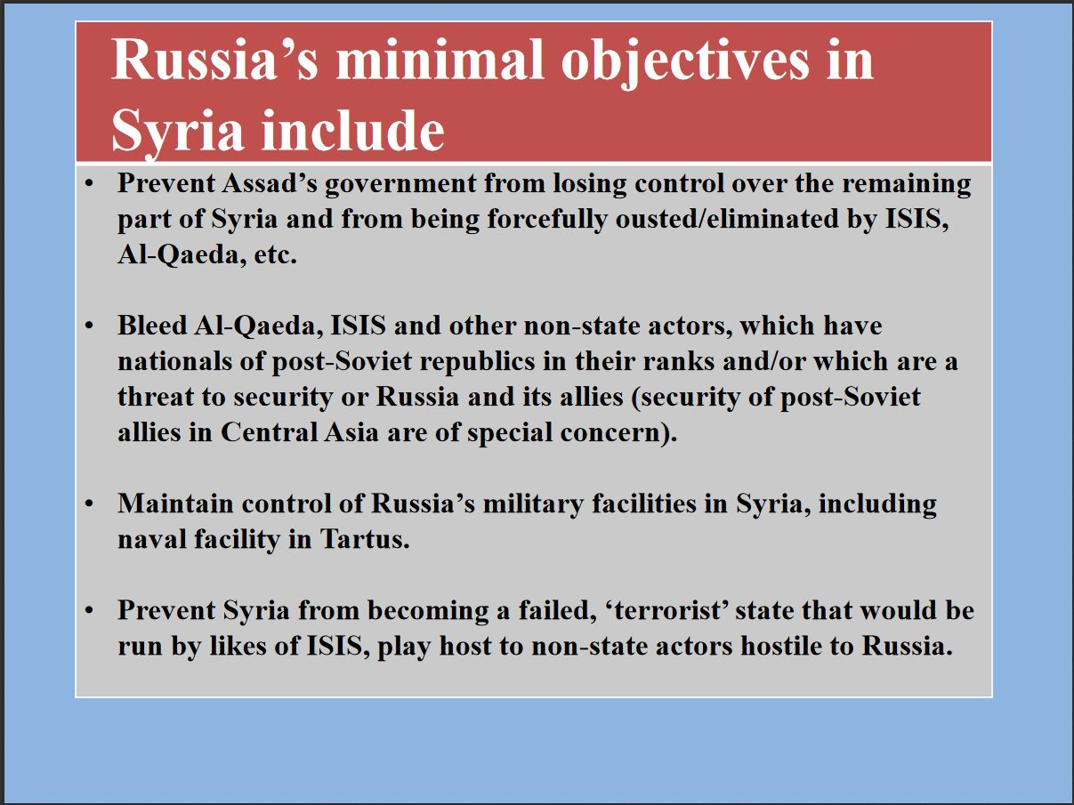 Russian objectives and interests in Syria, 4 of 5