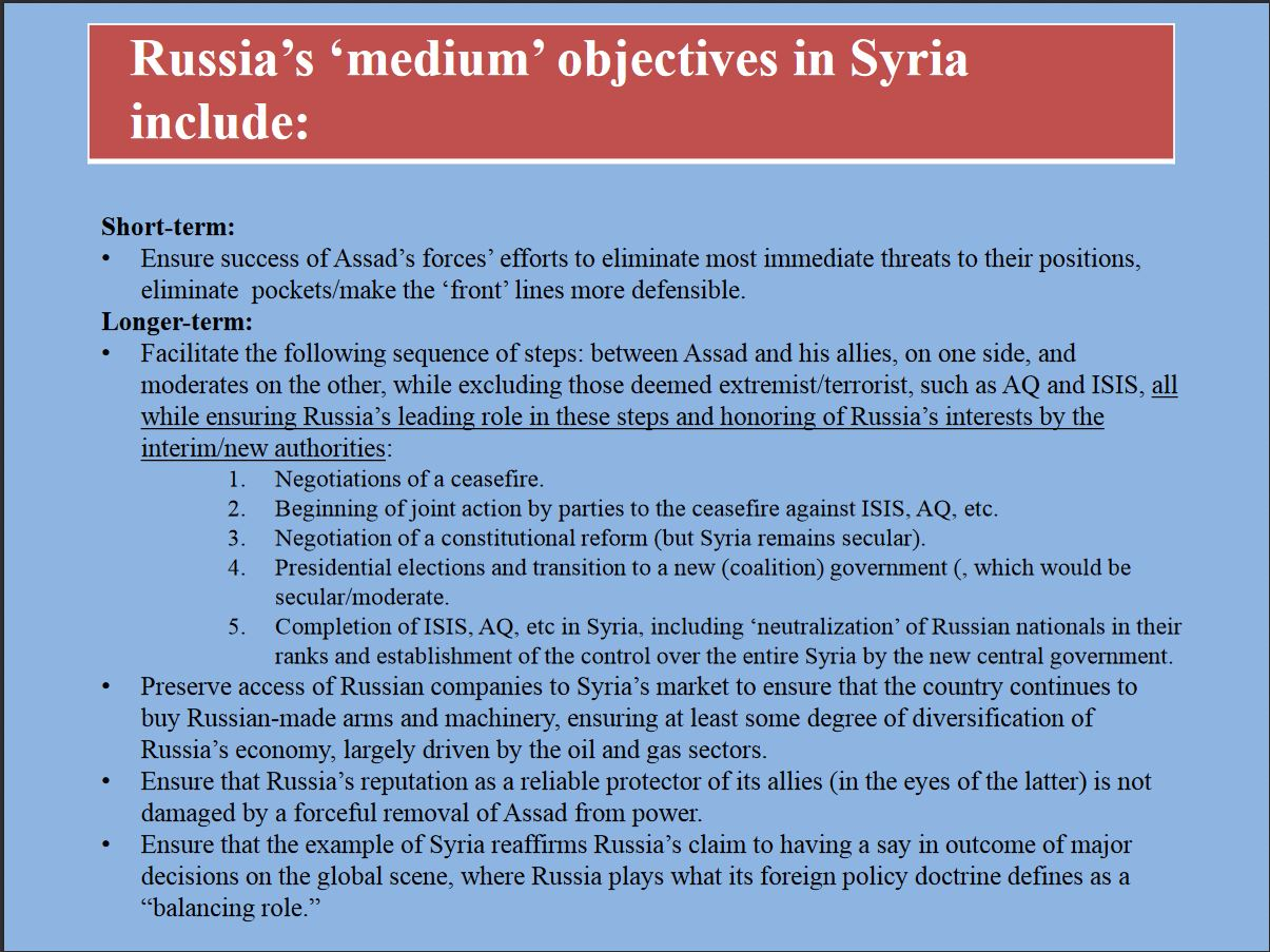 Russian objectives and interests in Syria, 5 of 5