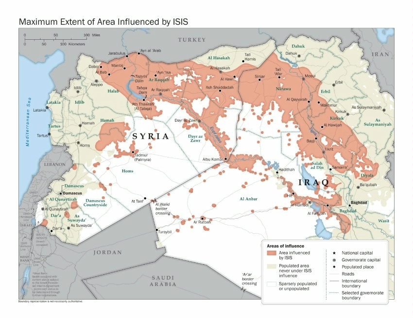 Maximum Extent of ISIS area of influence map