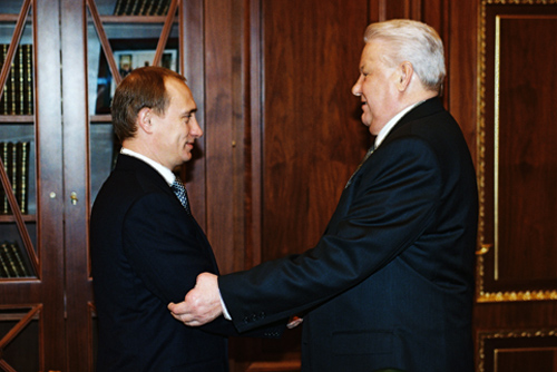 Vladimir Putin with Boris Yeltsin, Dec. 1999.