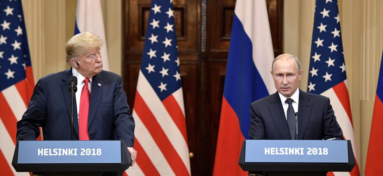 U.S. President Donald Trump and Russian President Vladimir Putin in Helsinki.