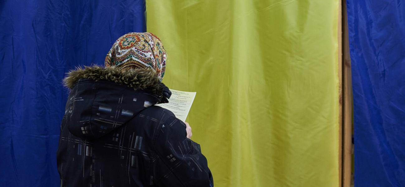 Woman voting in Ukrainian election
