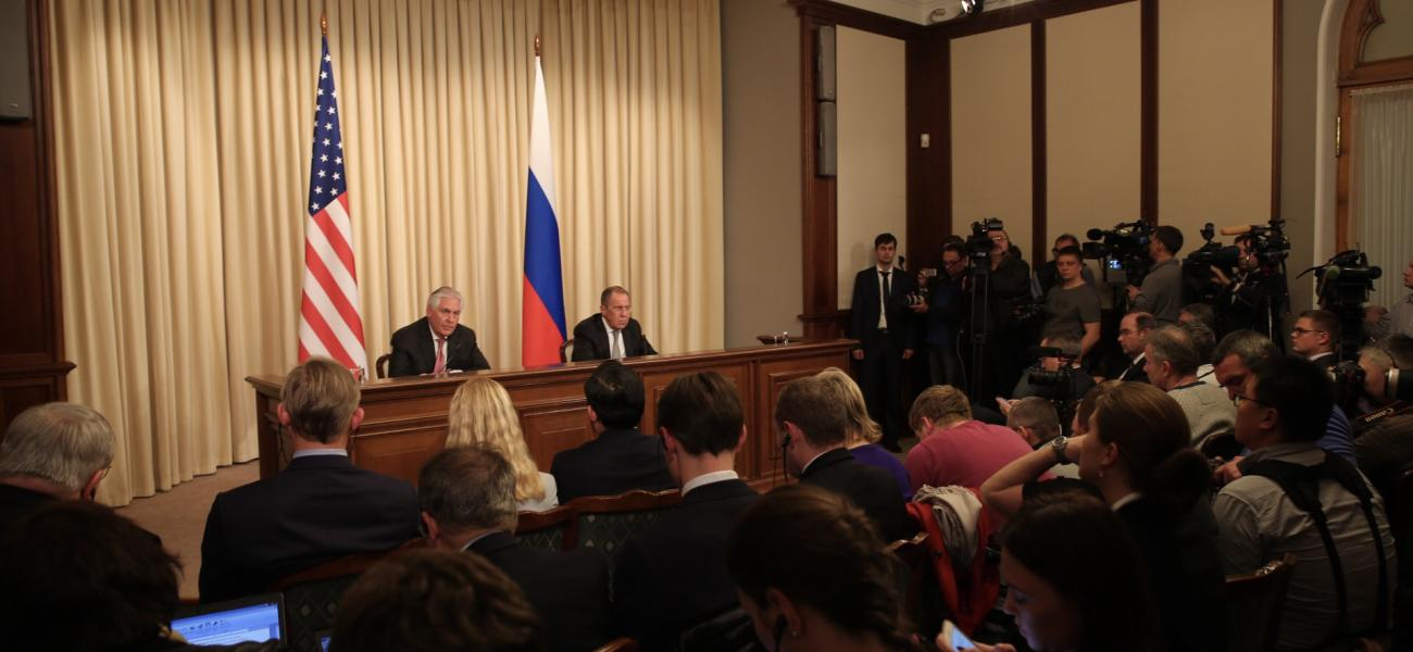 U.S. Secretary of State Rex Tillerson at a joint press conference with Russian Foreign Minister Sergei Lavrov.