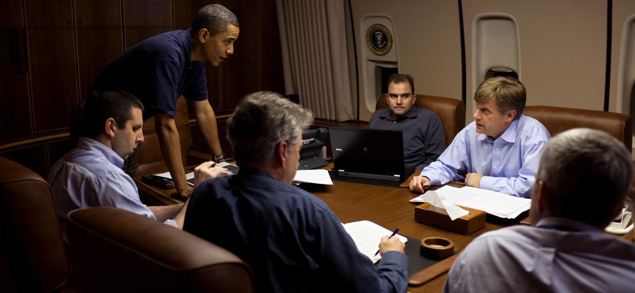 President Obama meets with Michael McFaul (second from right), former ambassador to Russia.