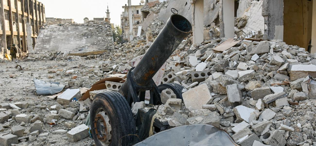 Improvised cannon found in Aleppo, Syria.