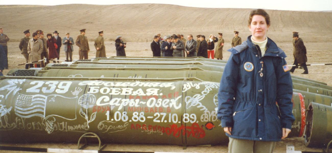 Ambassador Eileen Malloy observes the destruction of the last Soviet short-range missiles in Kazakhstan under INF in 1990.