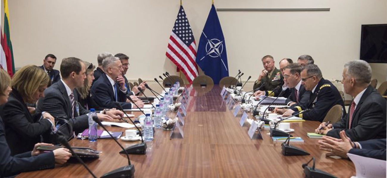 Defense Secretary Jim Mattis meets with members of the U.S. NATO mission in Brussels.