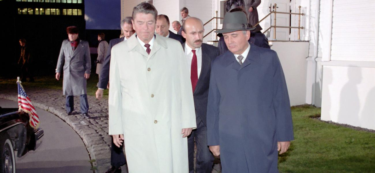 U.S. President Reagan and Soviet General Secretary Gorbachev depart after the final meeting at Hofdi House, Reykjavik, Iceland.