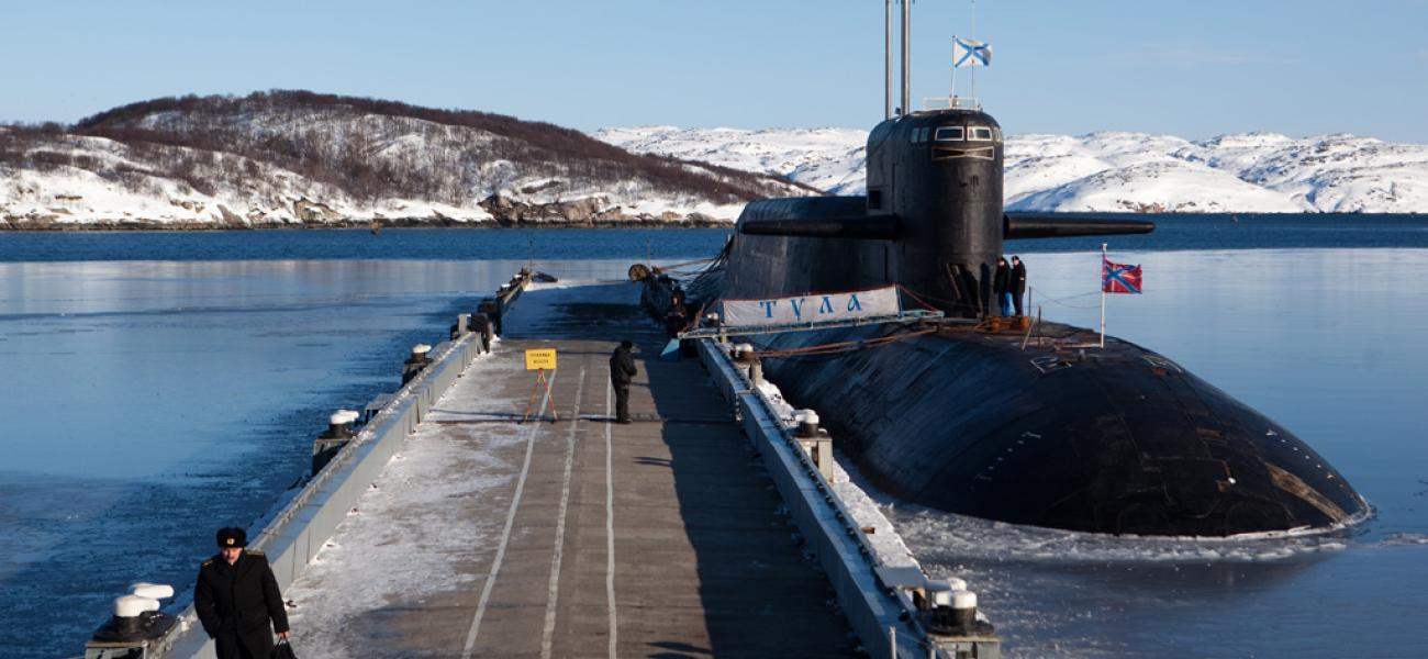 The K-114 Tula nuclear submarine at a pier of the Russian Northern Fleet's naval base in the Murmansk Region town of Gadzhievo, March 2011.