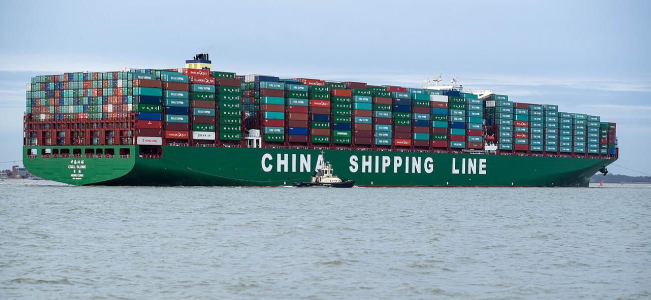 China Shipping Line shipping container on the ocean.