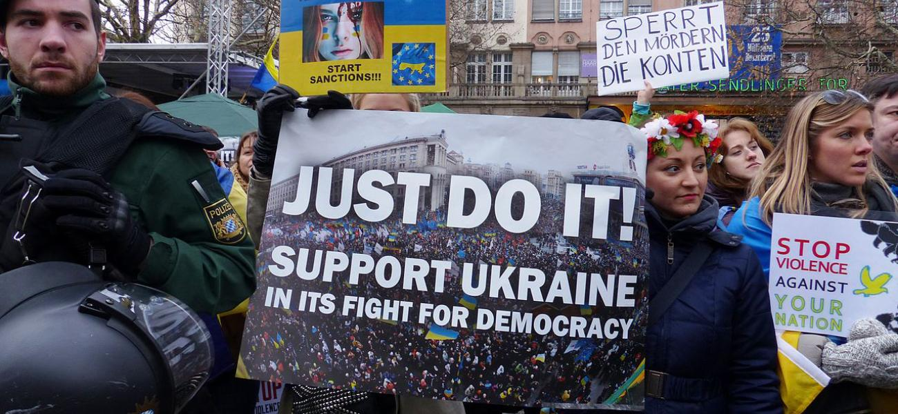 A demonstration for democracy in Ukraine held in Germany.