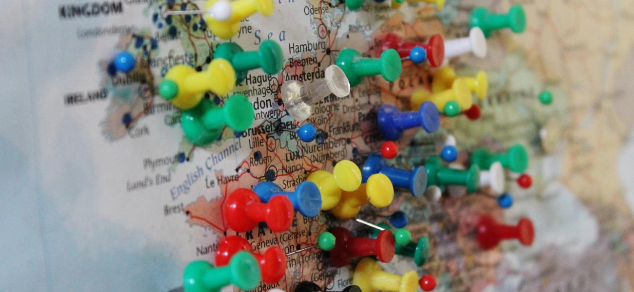 Europe map with thumbtacks