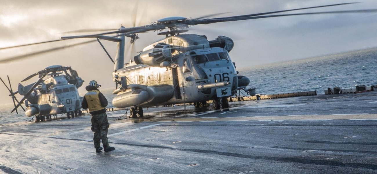A U.S. Marine Corps CH-53 Sea Stallion prepares for takeoff aboard USS Iwo Jima Oct. 17, 2018 in preparation for Trident Juncture 2018.
