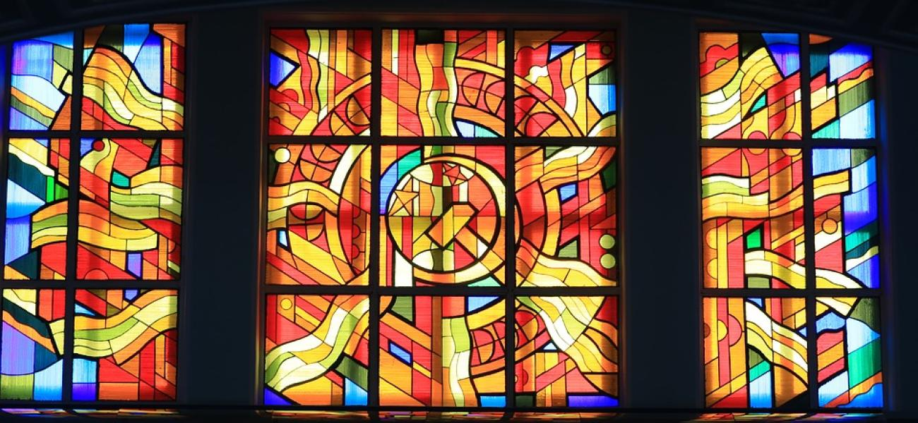 Soviet-themed stained-glass window