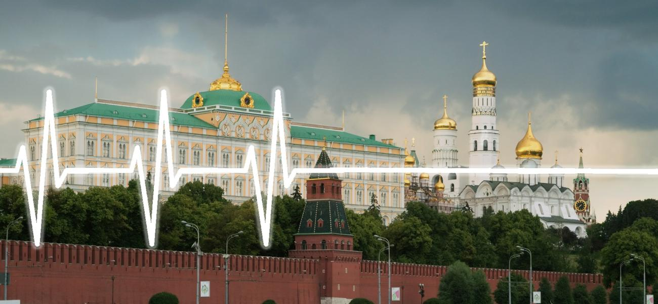 Flatline imposed over a photo of the Kremlin, Moscow.