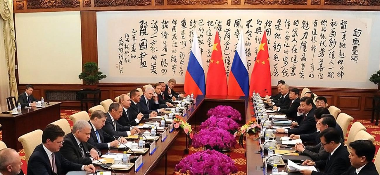 Russian President Vladimir Putin meets with Chinese President Xi Jinping in Beijing, November 2014