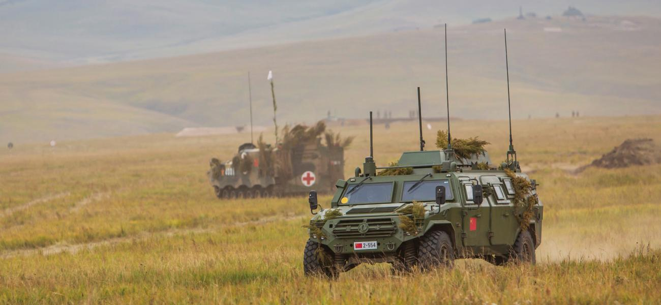 Chinese Dongfeng CSK131 armoured vehicle 4x4. Vostok 2018 Russian military exercises.