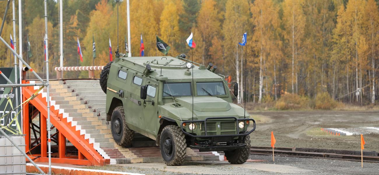 A Russian Tigr-M armored vehicle