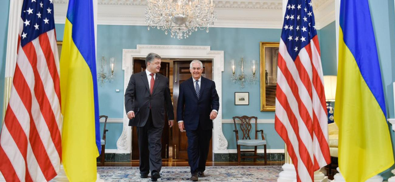 Ukrainian President Petro Poroshenko with U.S. Secretary of State Rex Tillerson in Washington, D.C.