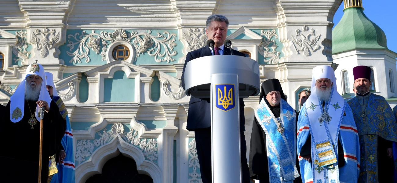 Ukrainian President Petro Poroshenko and Philaret, head of the Ukrainian Orthodox Church of the Kievan Patriarchate.