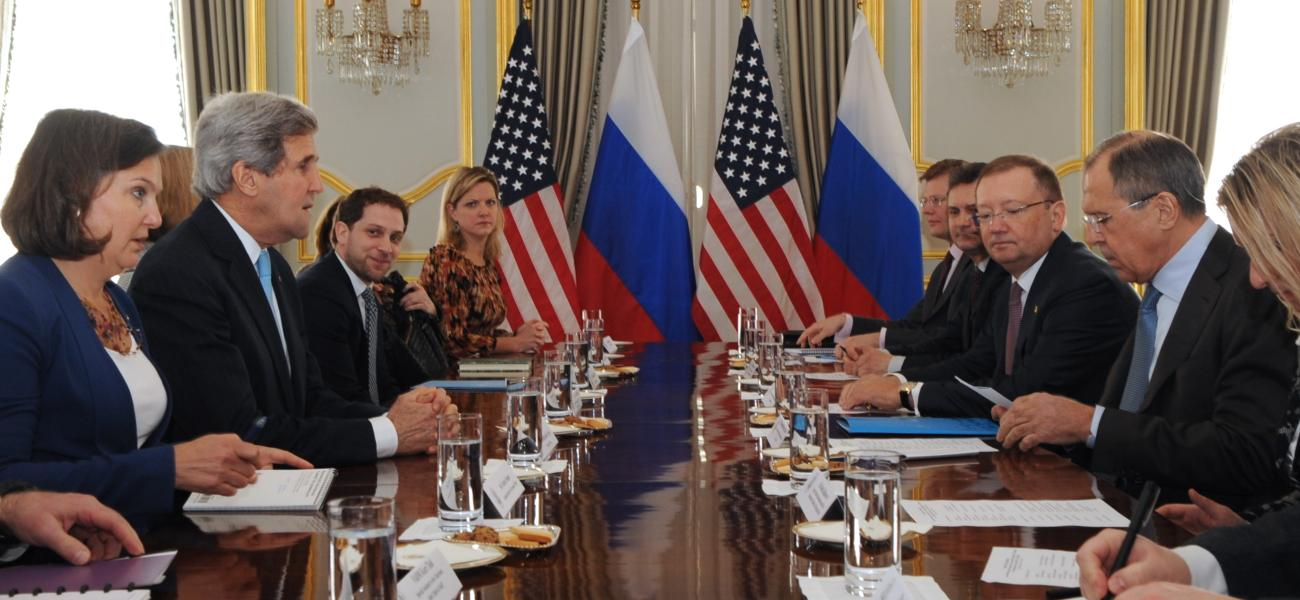 U.S. Secretary of State John Kerry, Russian Foreign Minister Sergey Lavrov and their teams sit down for a bilateral discussion.