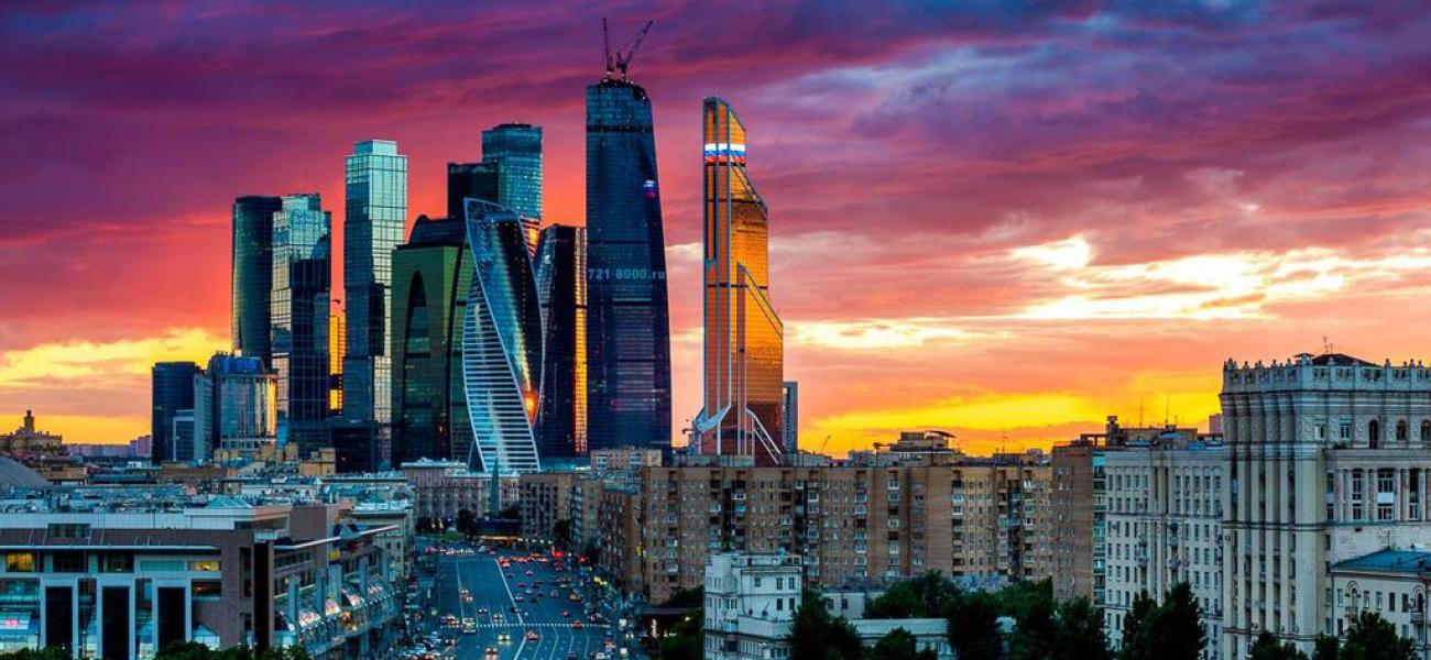 Moscow international business center, Moscow City, at sunset.