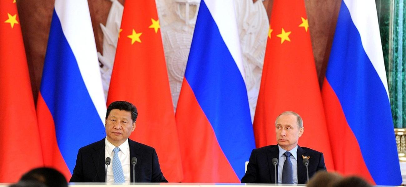 Russian President Vladimir Putin and Chinese President Xi Jinping make press statements following Russian-Chinese talks, May 2015.