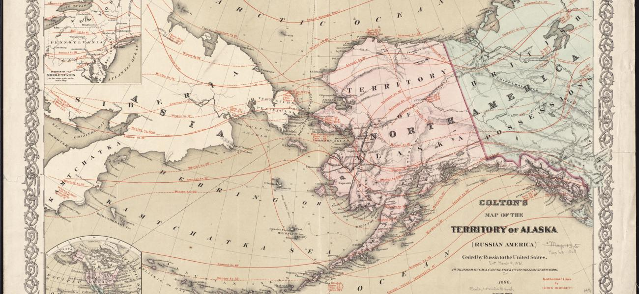 1868 map of Alaska and Russia