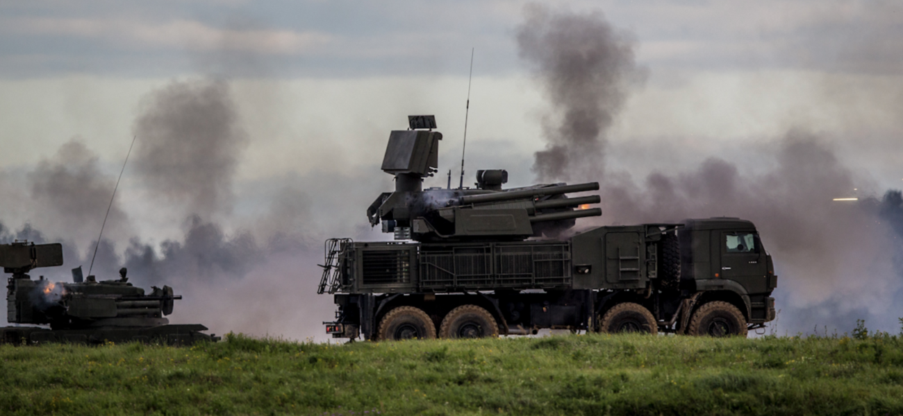 Russian military equipment firing.