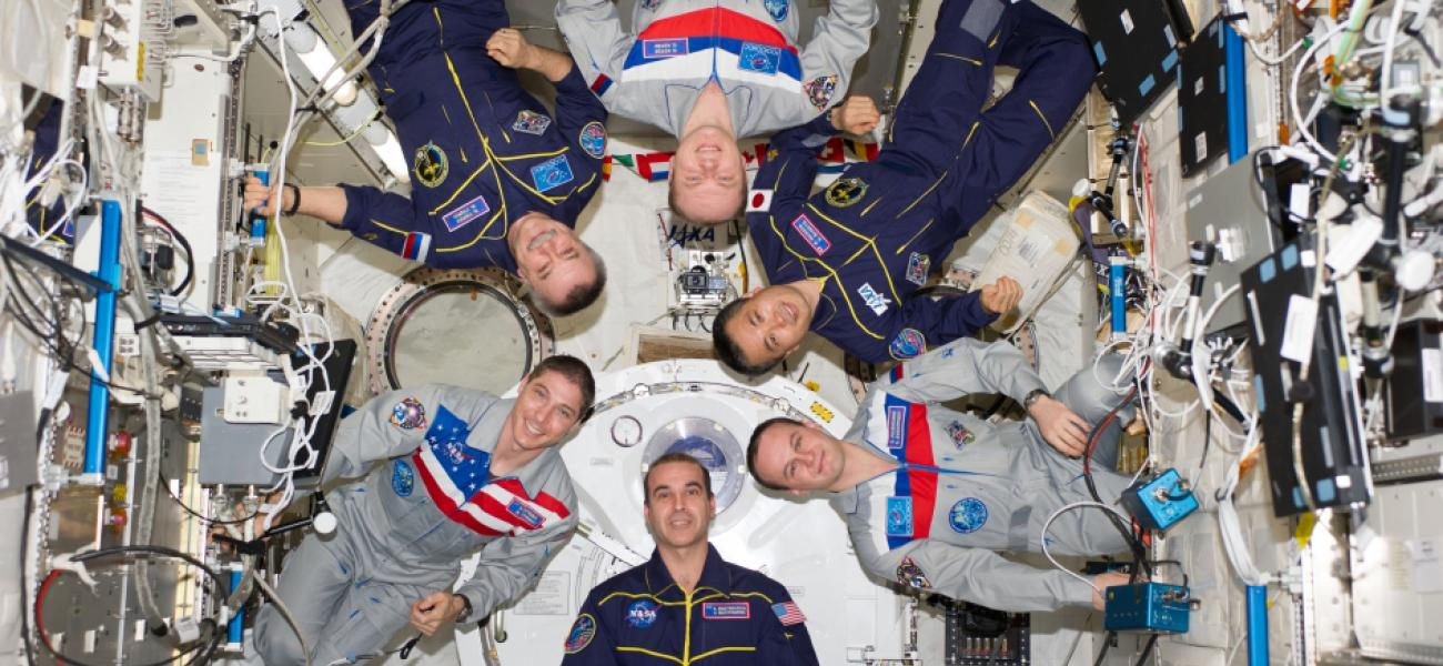 Russian cosmonauts, NASA astronauts and a Japanese astronaut on the International Space Station.