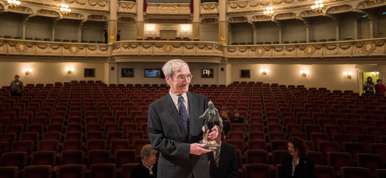 Stanislav Petrov receives the Dresden Prize, February 2013. Alamy Stock Photo.