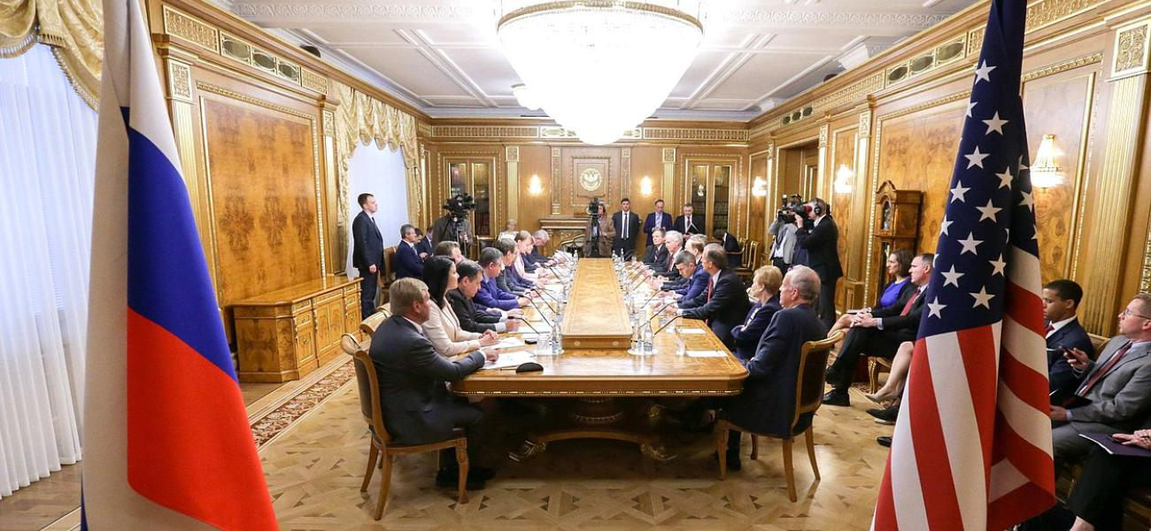 Delegation of U.S. Congressmen meeting with the Russian State Duma in Moscow in preparation for the Trump-Putin summit.