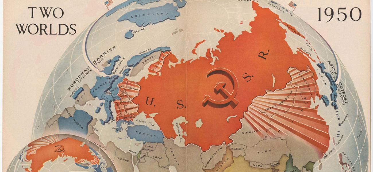 """Two Worlds"" map showing the USSR in red with the U.S. in blue barely visible over the horizon."