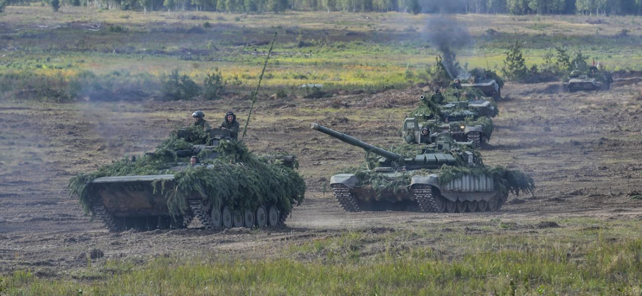 Russian tanks during Zapad 2017 exercises.