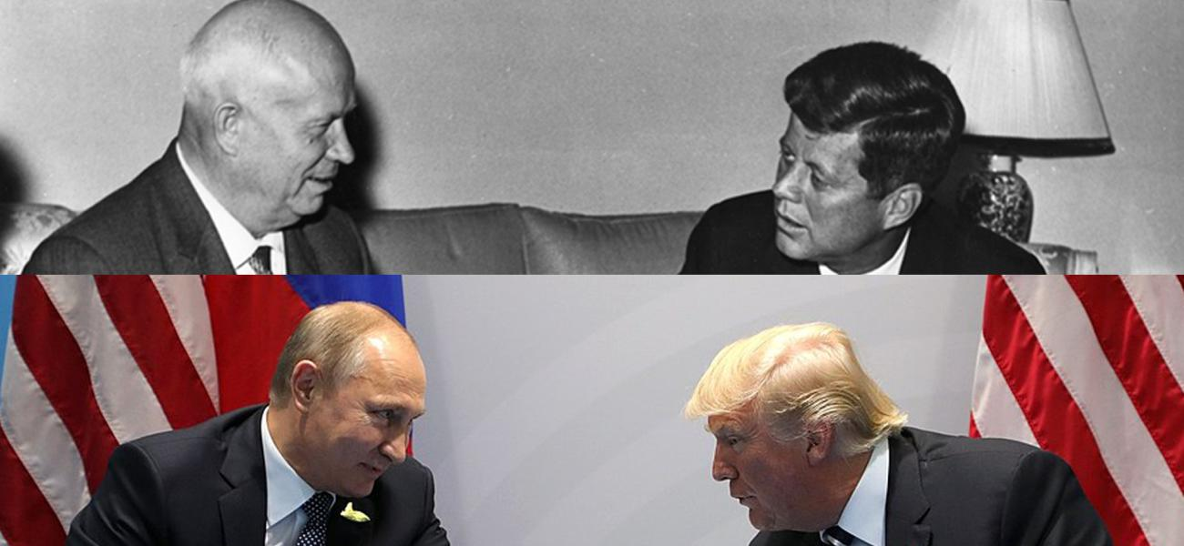 Photo of Soviet leader Nikita Khrushchev and U.S. President John F. Kennedy over photo of Russian President Vladimir Putin and U.S. President Donald Trump
