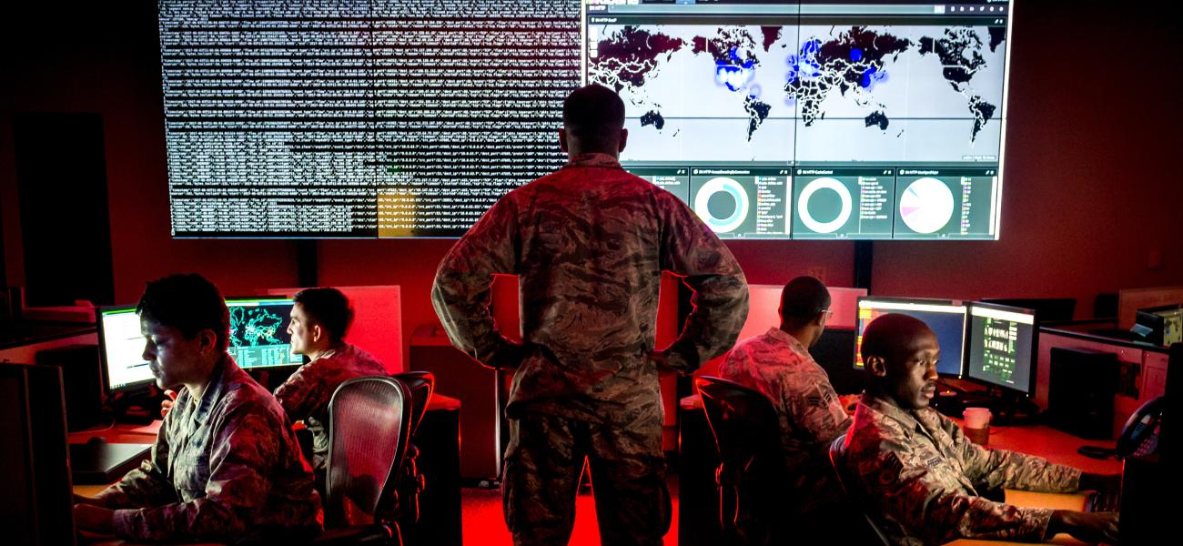 Soldiers undergoing cyber security training.