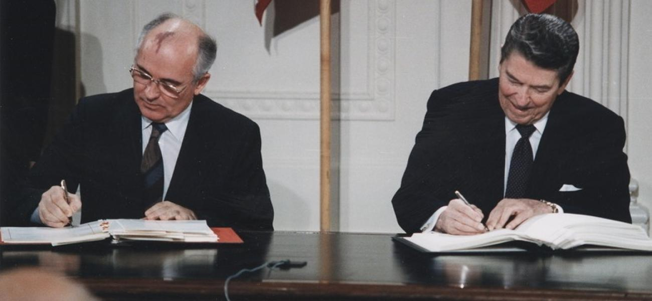 President Reagan and General Secretary Gorbachev signing the INF Treaty, 8 December 1987.