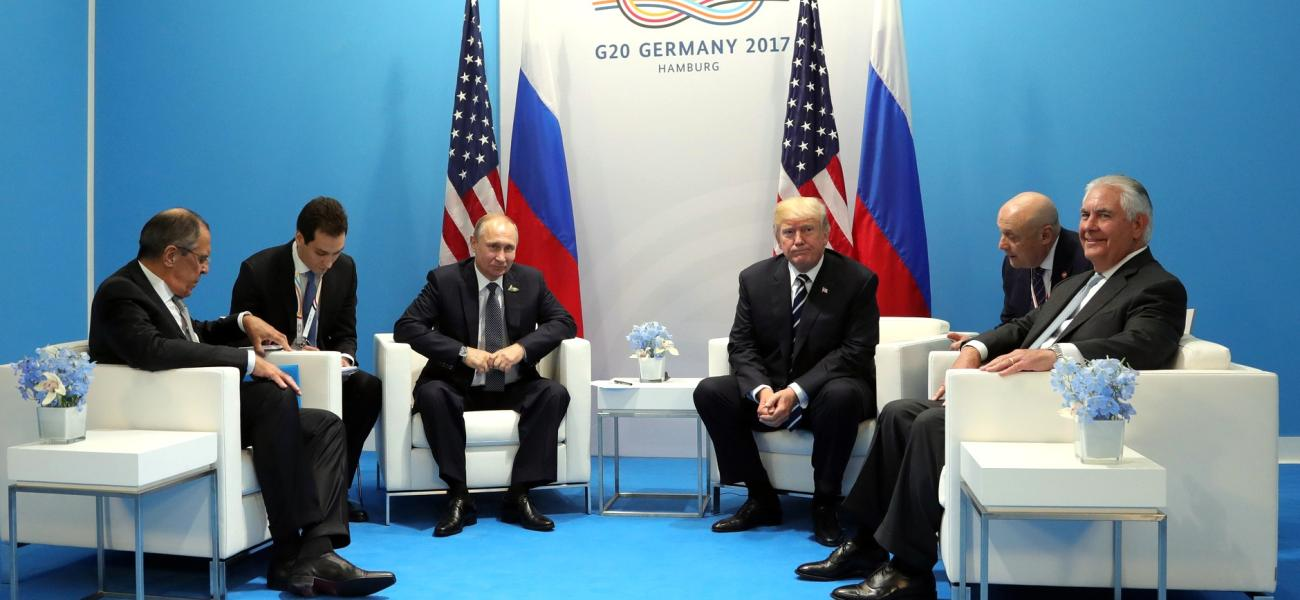 Putin and Trump with foreign ministers and interpreters, July 2017