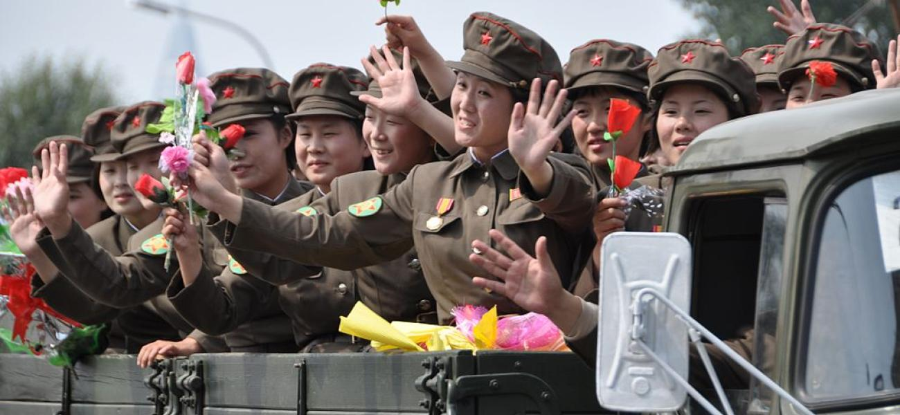 Female soldiers in North Korea military parade