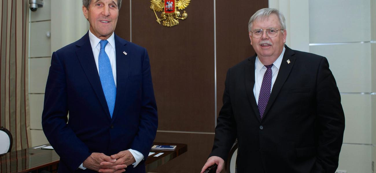 Tefft (right) and former Secretary of State John Kerry